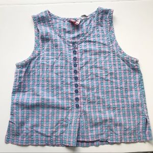 Vintage Cropped Checkered Woven Sleeveless Top